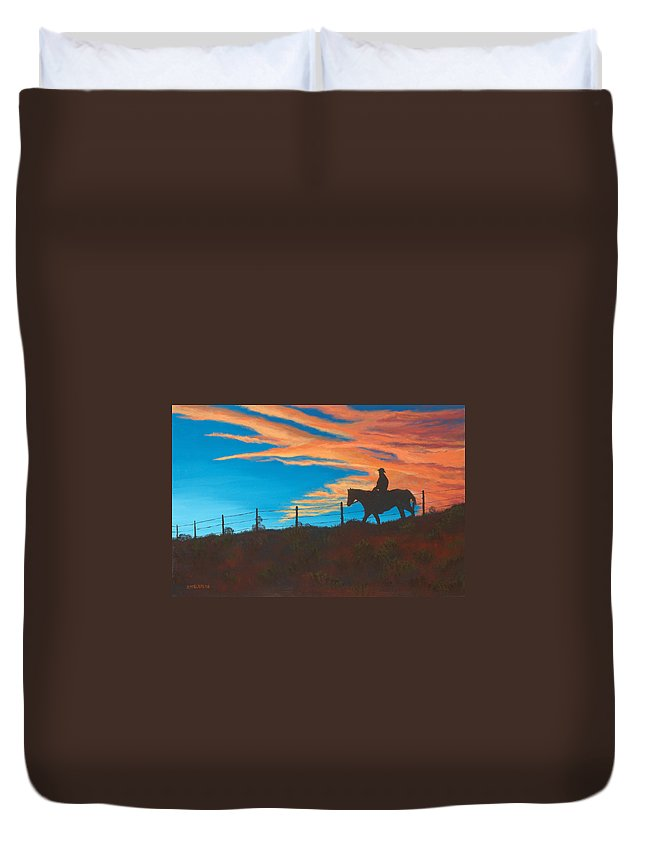 Cowboy Duvet Cover featuring the painting Riding Fence by Jerry McElroy