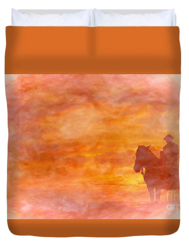 Riding Into The Sunset Duvet Cover featuring the digital art Riding Into The Sunset by Randy Steele