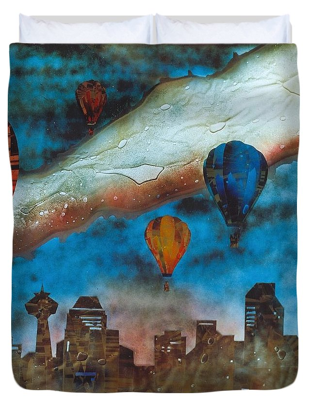 Landscape Duvet Cover featuring the painting Riding The Chinook by Rick Silas