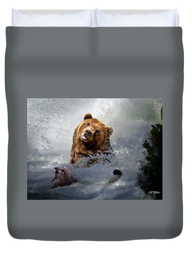 Bear Duvet Cover featuring the digital art Riding The Gauntlet by Bill Stephens