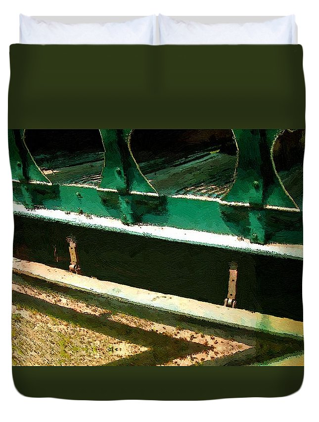 Antique Duvet Cover featuring the painting Riding The Rails by RC DeWinter