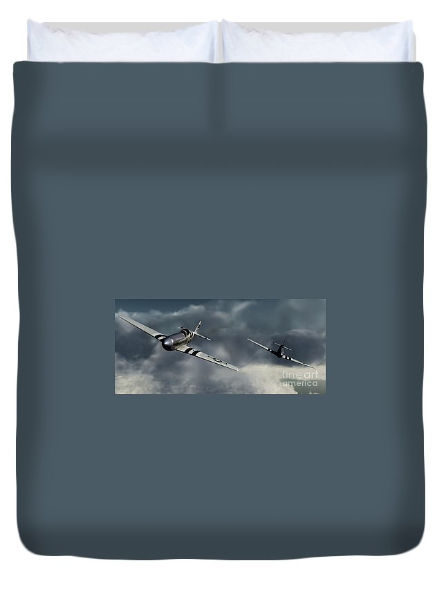 Warbirds Duvet Cover featuring the digital art Riding The Storm by Richard Rizzo