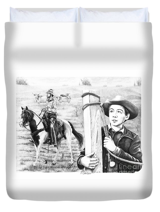 Pencil Duvet Cover featuring the drawing Rifleman-mark-mccain by Murphy Elliott