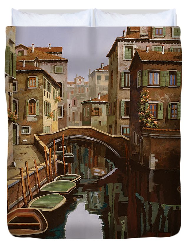 Venice Duvet Cover featuring the painting Riflesso Scuro by Guido Borelli