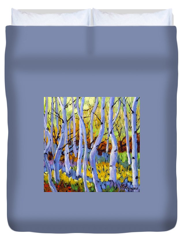 Art Duvet Cover featuring the painting Rigaudon Of Aspens by Richard T Pranke