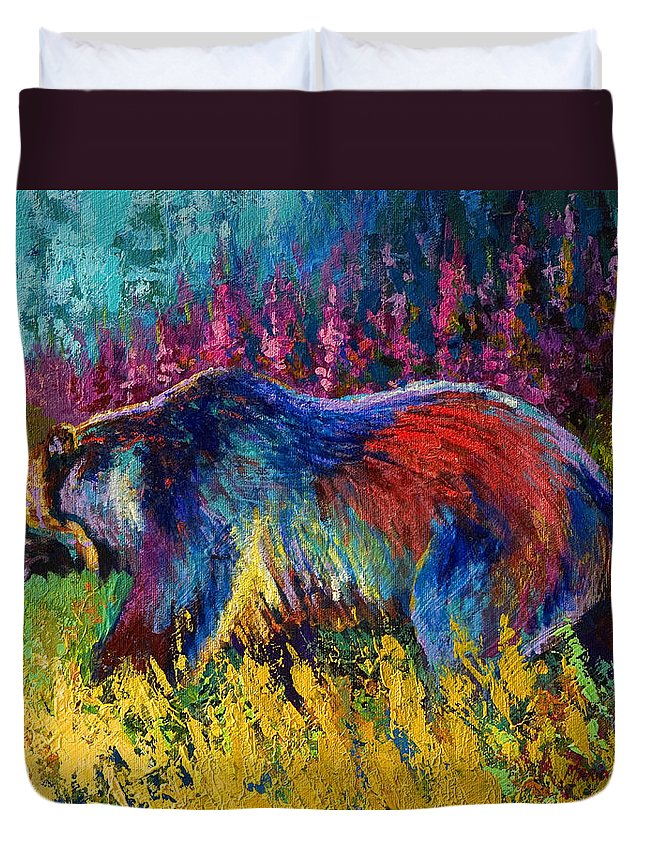 Western Duvet Cover featuring the painting Right Of Way - Grizzly Bear by Marion Rose