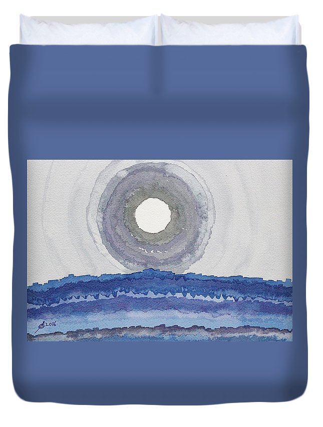 Canyon Duvet Cover featuring the painting Rim Of The Moon Original Painting by Sol Luckman