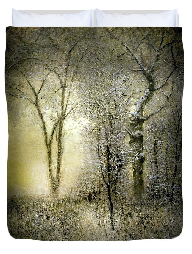 Rimy Forest Duvet Cover featuring the painting Rimy Forest Windy Daybreak By Laszlo Mednyanszky 1896 by Laszlo Mednyanszky