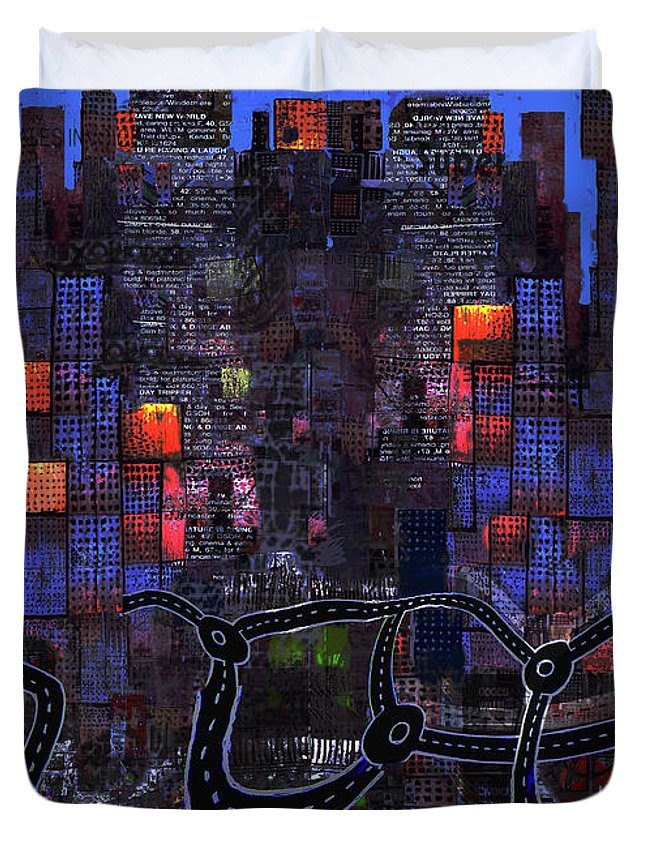 Road Duvet Cover featuring the digital art Ring Road 2 by Andy Mercer
