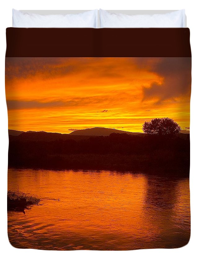 Sunset Duvet Cover featuring the photograph Rio Grande Sunset by Tim McCarthy