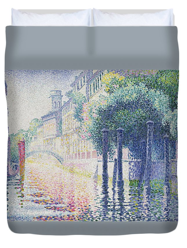 Gondola Duvet Cover featuring the painting Rio San Trovaso, Venice by Henri Edmond Cross