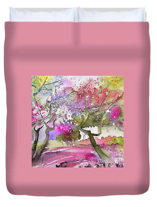 Spain Rioja Painting Travel Sketch Water Colour Miki Duvet Cover featuring the painting Rioja Spain 02 by Miki De Goodaboom