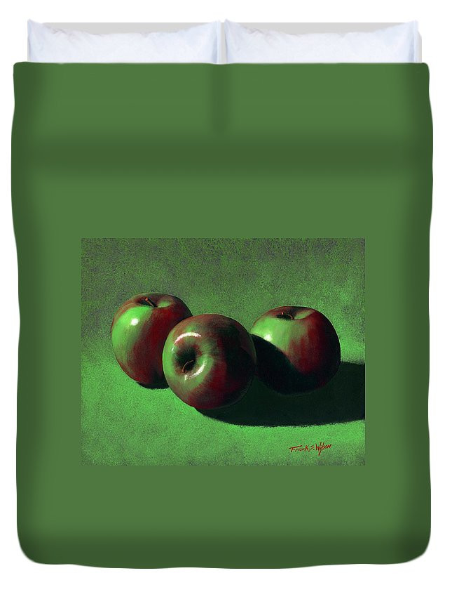 Still Life Duvet Cover featuring the painting Ripe Apples by Frank Wilson