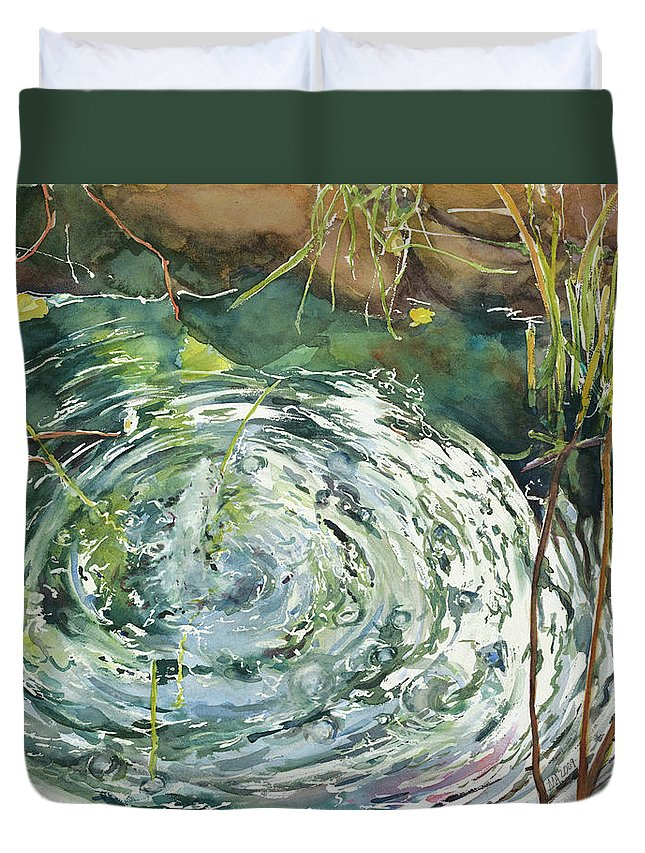 Water Duvet Cover featuring the painting Ripple Pond by Madeleine Arnett