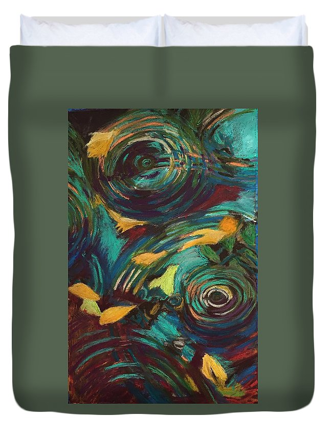 Oil Pastels Duvet Cover featuring the pastel Ripples in Time by Art Nomad Sandra Hansen