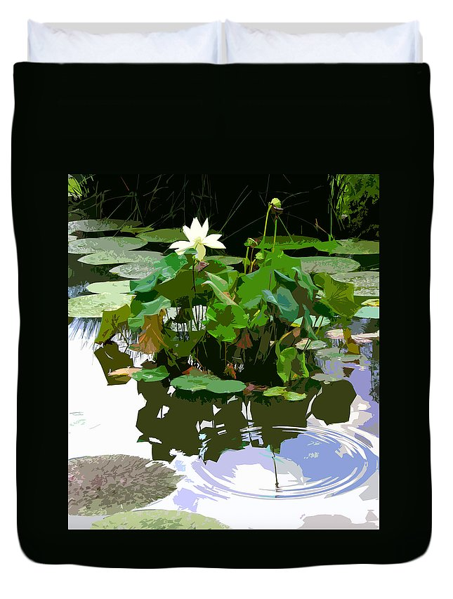 Lotus Duvet Cover featuring the photograph Ripples on the Lotus Pond by John Lautermilch