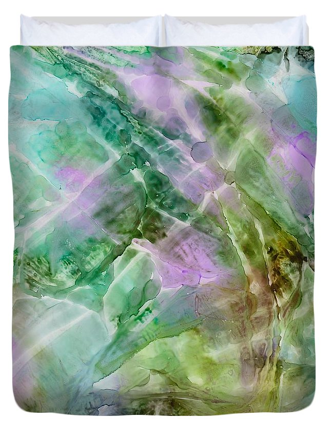 Light Duvet Cover featuring the painting Ripples On Water by Susan Kubes