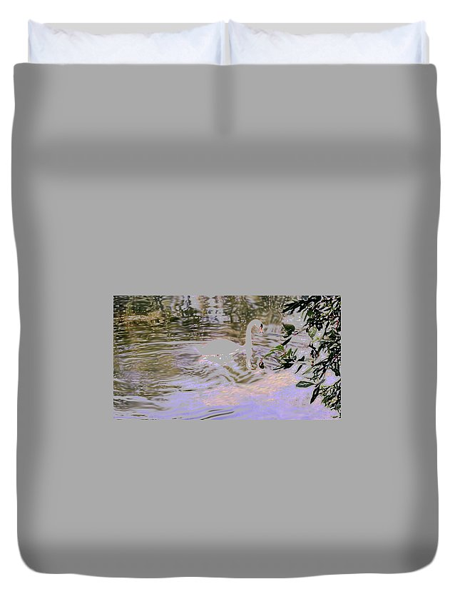 Swan Duvet Cover featuring the photograph Ripples Subdued by Ian MacDonald