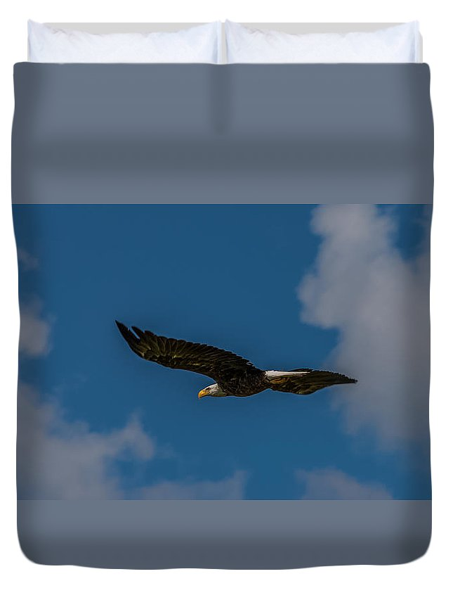 Bald Eagle Duvet Cover featuring the photograph Rise Above The Clouds by Yeates Photography