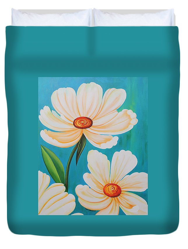 White Flowers Duvet Cover featuring the painting Rising Above by Carol Sabo