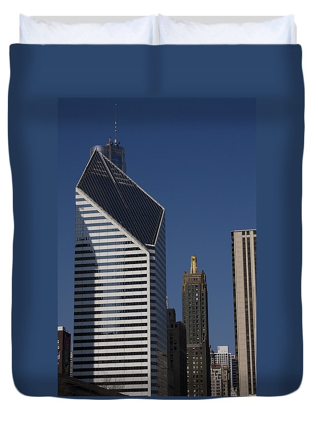 Chicago Windy City Blue Sky Building Skyscraper Metro Urban Tall High Big Duvet Cover featuring the photograph Rising High by Andrei Shliakhau