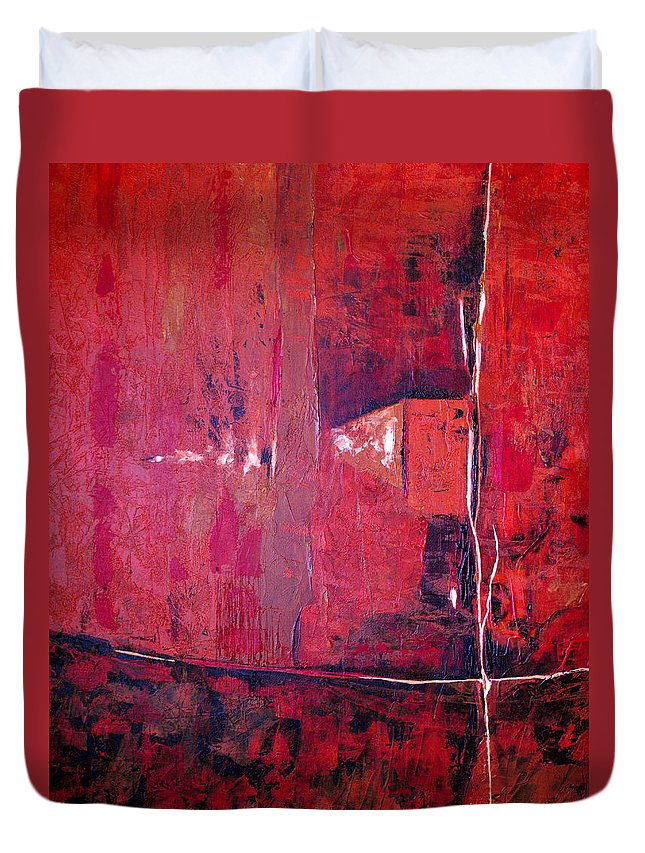 Abstract Duvet Cover featuring the painting Risky Business by Ruth Palmer