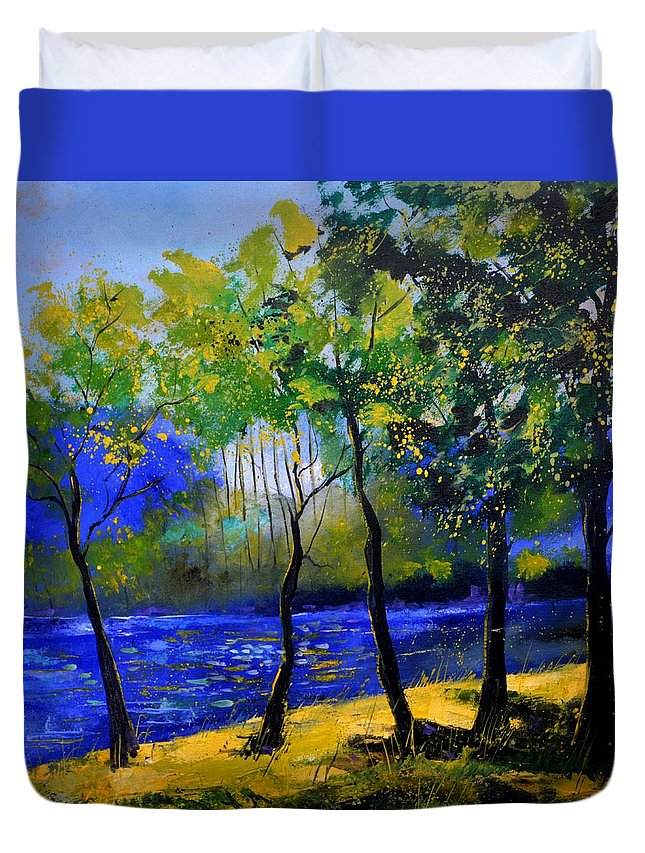 Landscape Duvet Cover featuring the painting River 777120 by Pol Ledent