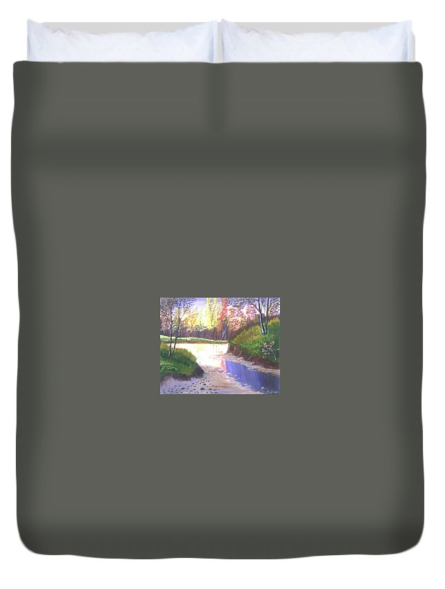 Landscape Duvet Cover featuring the painting River Bend by Joe Hall
