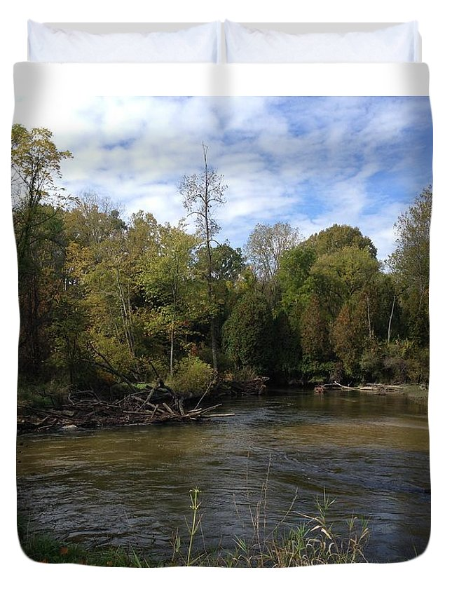 Pure Michigan Duvet Cover featuring the digital art River Bends by Jim Richardson