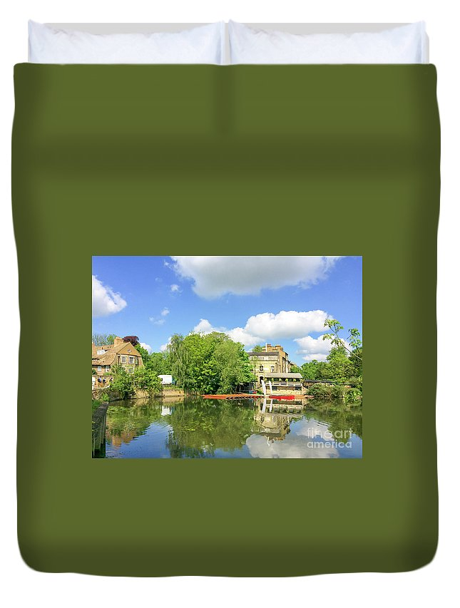 Cambridge Duvet Cover featuring the photograph River Cam by Delphimages Photo Creations
