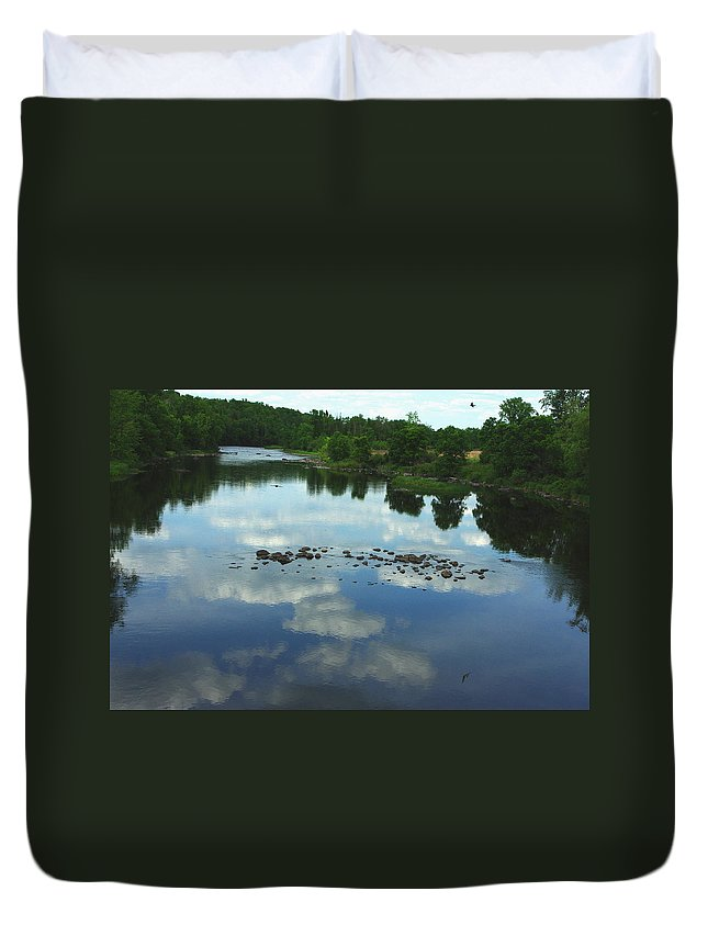 Reflection Of Clouds Duvet Cover featuring the photograph River Cloud Reflection by Alice Markham