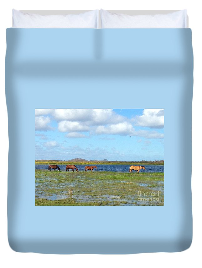 Horse Duvet Cover featuring the photograph River Horses Horizon by Photos By Cassandra