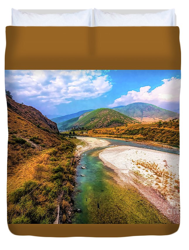 River Duvet Cover featuring the photograph River In The Hills by Pravine Chester