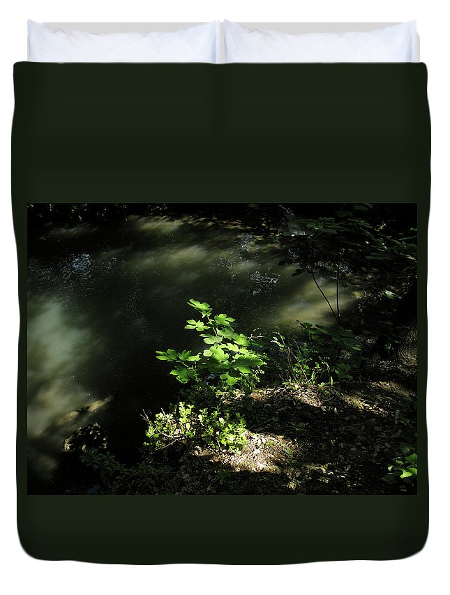 Landscape Duvet Cover featuring the photograph River In The Woods by Stefania Levi