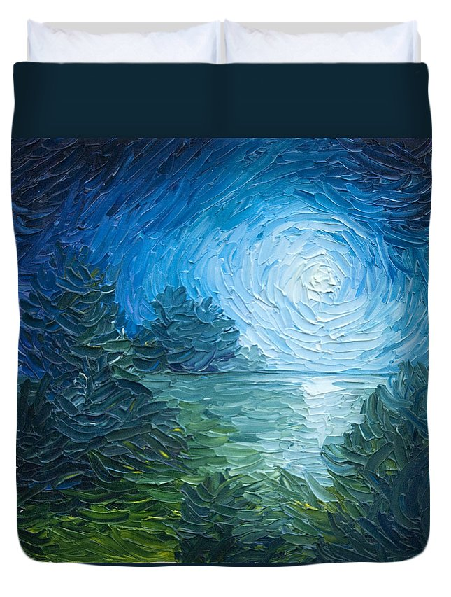 Nature; Lake; Sunset; Sunrise; Serene; Forest; Trees; Water; Ripples; Clearing; Lagoon; James Christopher Hill; Jameshillgallery.com; Foliage; Sky; Realism; Oils; Moon; Moonlight; Reflection; Blue; Lapis Duvet Cover featuring the painting River Moon by James Christopher Hill
