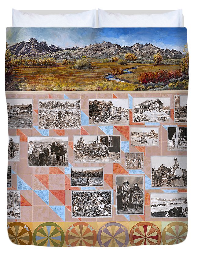 Western Duvet Cover featuring the painting River Mural Autumn Panel Bottom Half by Dawn Senior-Trask