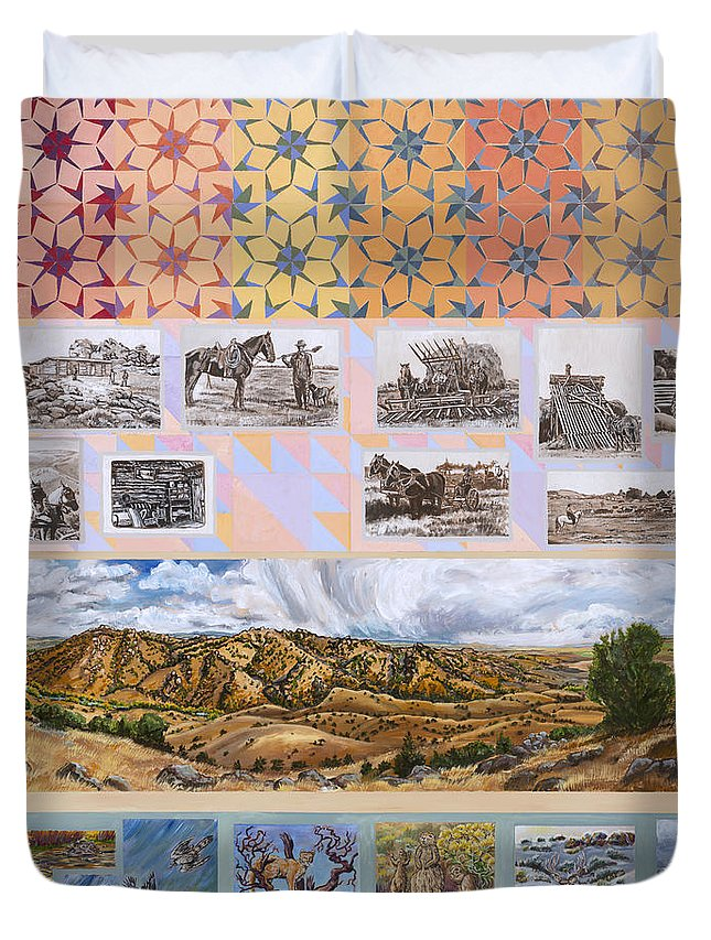 Western Duvet Cover featuring the painting River Mural Autumn Panel Top Half by Dawn Senior-Trask