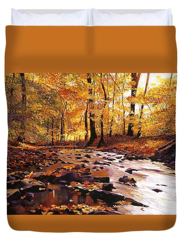 Autumn Duvet Cover featuring the painting River Of Gold by David Lloyd Glover