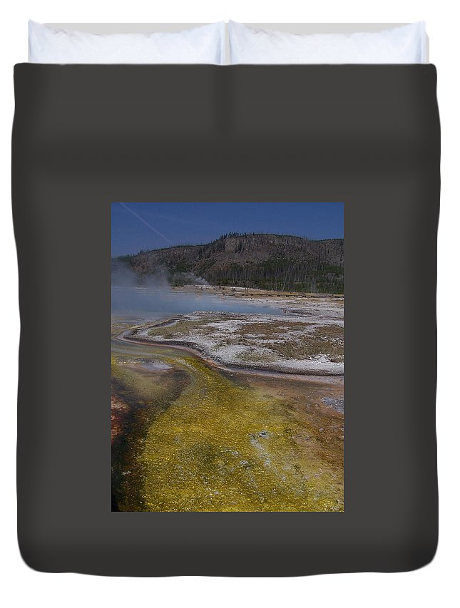Geyser Duvet Cover featuring the photograph River Of Gold by Gale Cochran-Smith