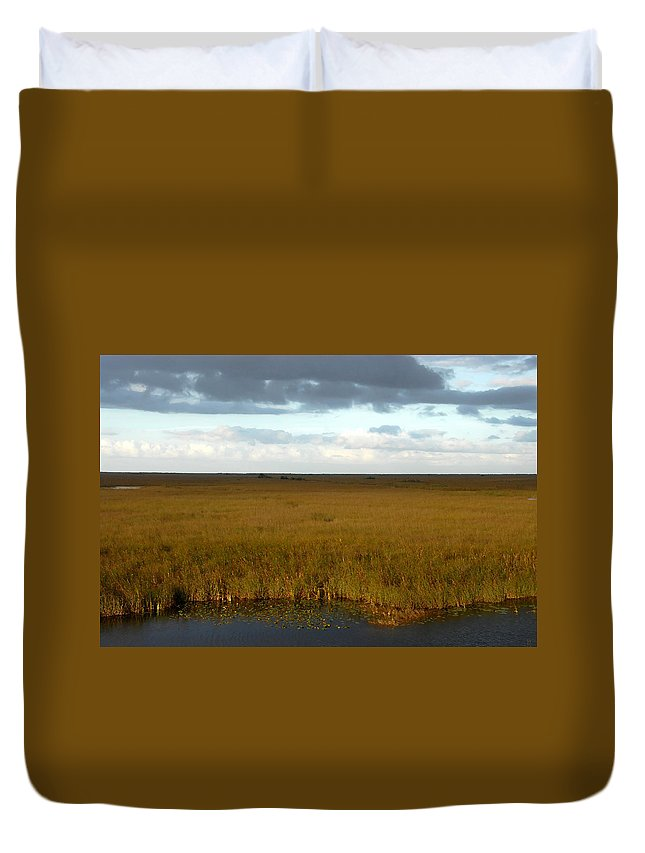 River Of Grass Duvet Cover featuring the painting River Of Grass by David Lee Thompson