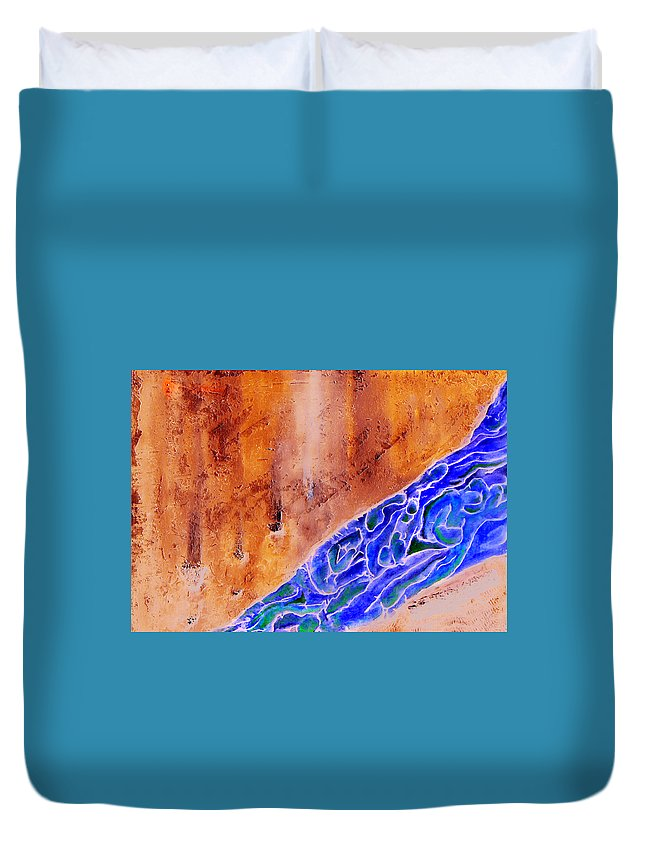 Life Flow River Water People Birth Duvet Cover featuring the mixed media River Of Life by Veronica Jackson