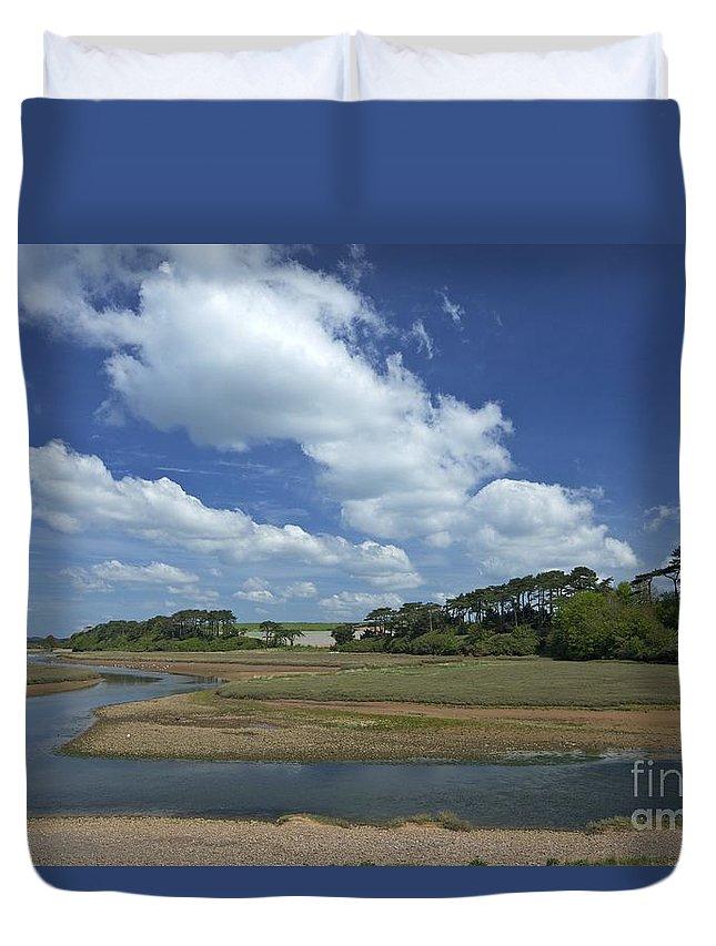 Blue Duvet Cover featuring the photograph River Otter Estuary, Budleigh Salterton, Devon, Southwest England, Uk Gb by Peter Barritt