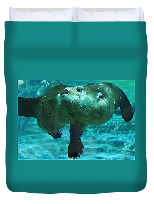 Animal Duvet Cover featuring the photograph River Otter by Steve Karol