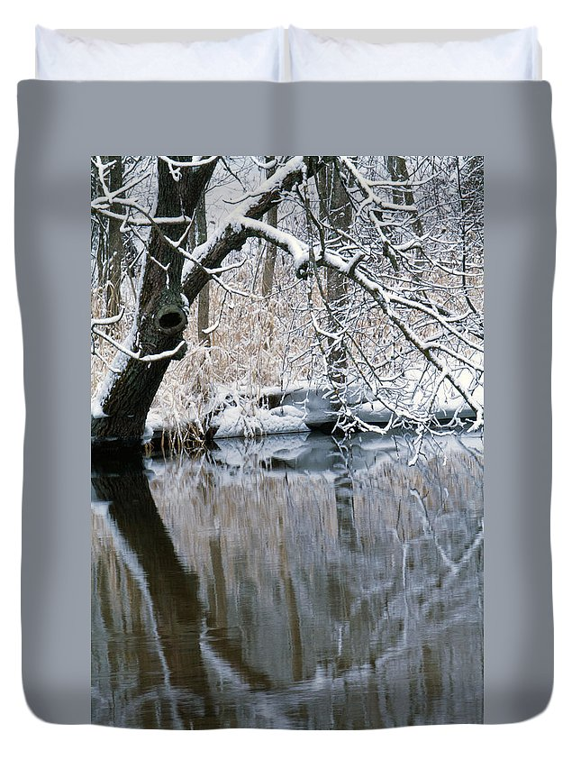 Snow Duvet Cover featuring the photograph River Reflection 4 by June Goggins