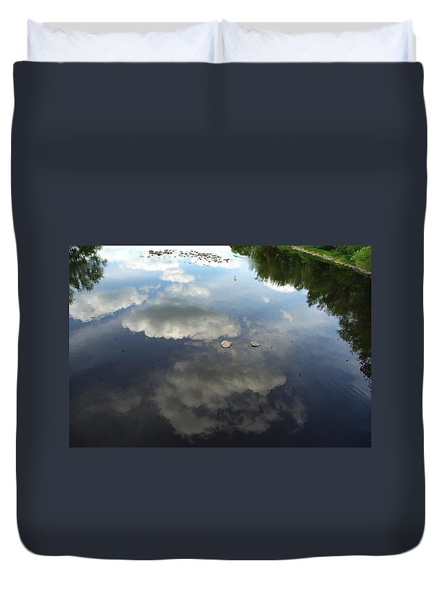 River Duvet Cover featuring the photograph River Reflection Of Clouds by Alice Markham