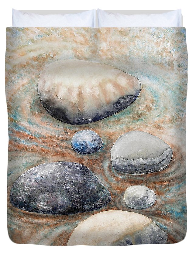 Abstract Duvet Cover featuring the painting River Rock 2 by Valerie Meotti