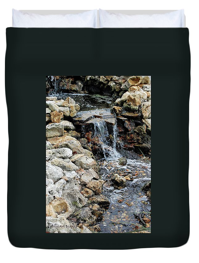 River Duvet Cover featuring the digital art River Rock Of The Unknown by DigiArt Diaries by Vicky B Fuller