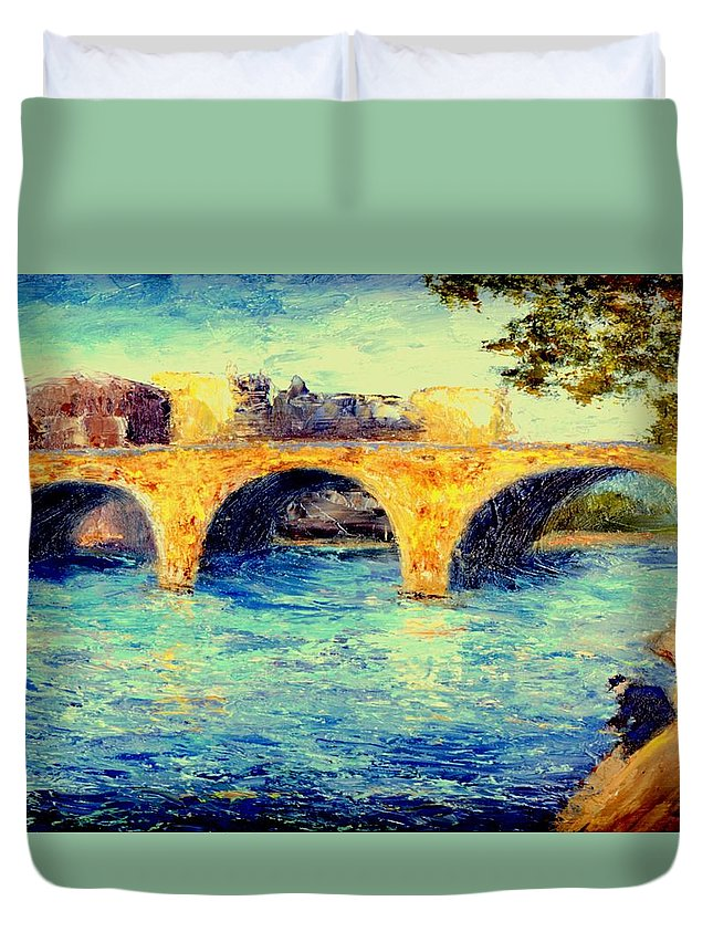 Impressionism Duvet Cover featuring the painting River Seine Bridge by Gail Kirtz
