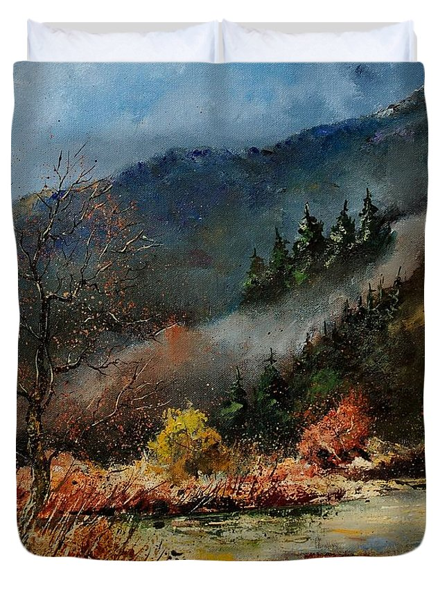 River Duvet Cover featuring the painting River Semois by Pol Ledent