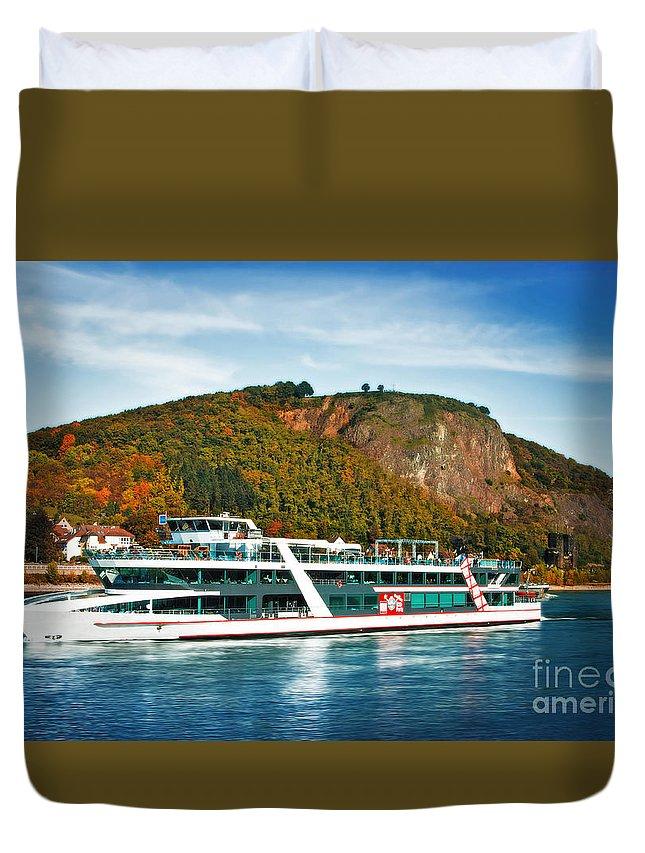 Beach Duvet Cover featuring the photograph River Ship by Katarjina Telesh